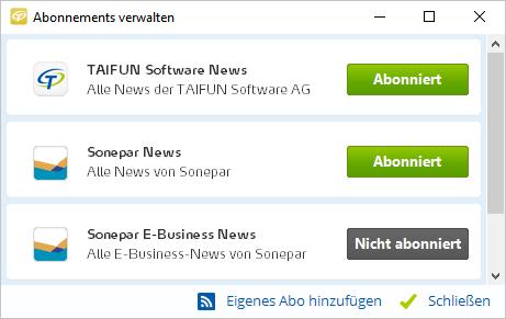Abonnements von RSS-Feeds im TAIFUN-Newsticker