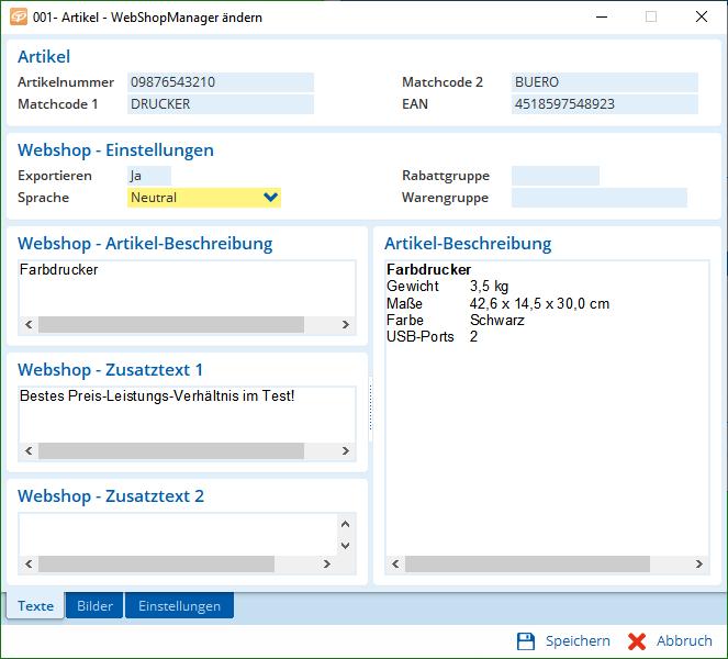 Beschreibungen in allen Sprachen, die Sie brauchen – direkt aus der Artikel-Datenbank.