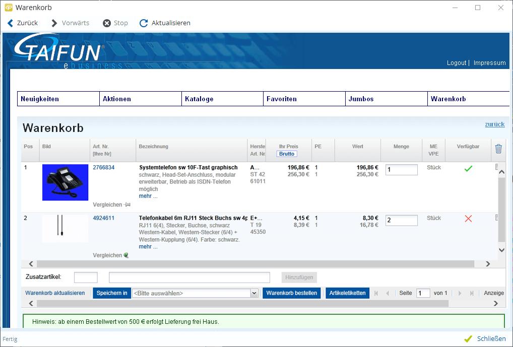 Übernahme von Warenkorb-Artikeln ins TAIFUN
