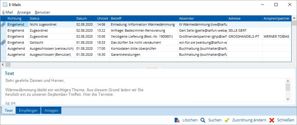 Hier geht nichts mehr verloren: E-Mail-Archiv in TAIFUN
