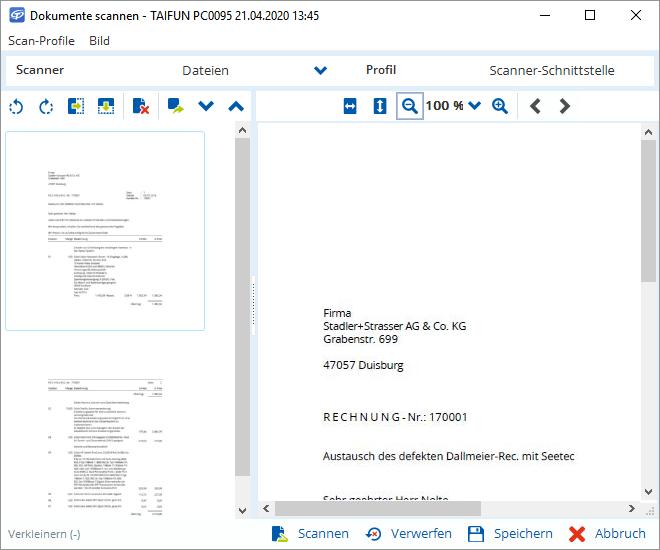Dokumente einscannen