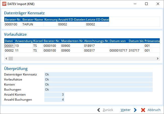 Import von DATEV-Daten im Format KNE