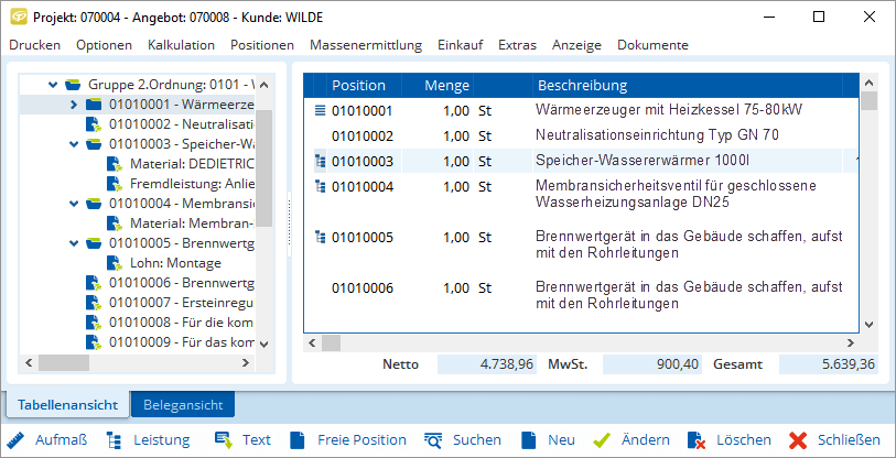 Import und Export von Leistungsverzeichnissen